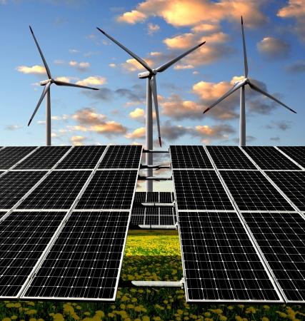 electricidad industrial: Los paneles solares y turbinas de viento en la puesta del sol Foto de archivo