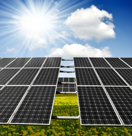 silicium: Solar panels on meadow  Stock Photo