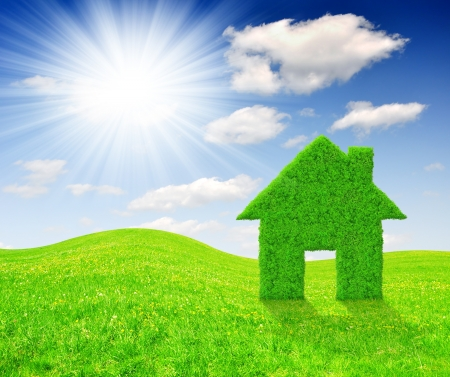 energy conservation: Green grass house symbol on meadow  Stock Photo