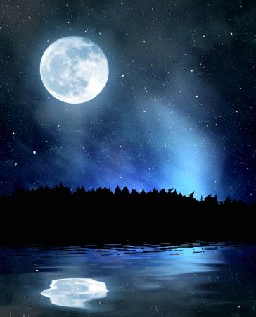 nachtelijke hemel met maan Stockfoto