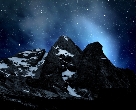 night scenery: view of mountain Marmolada in the night - top of Dolomiti Italy