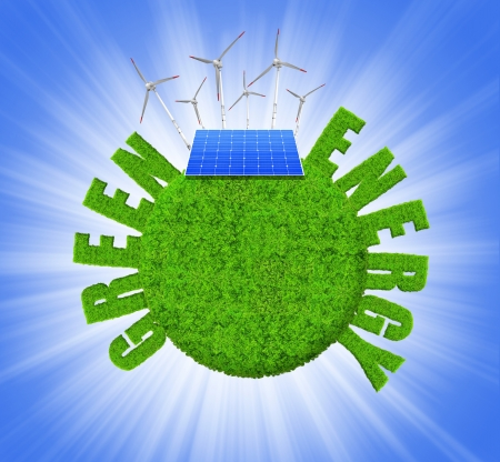Green planet with wind turbines and solar panel Green energy concepts photo