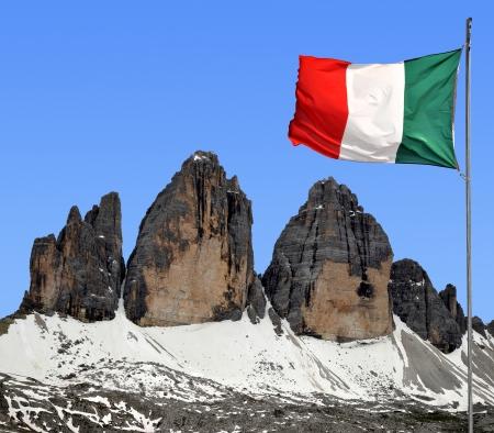 dolomite: Tre cime di Lavaredo with Italy flag, Dolomite Alps, Italy  Stock Photo