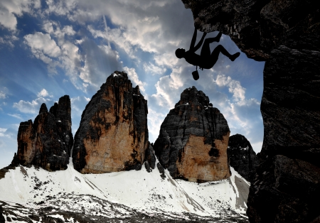 mountaineering: Climbers in the Dolomite Alps In the background Tre cime di Lavaredo, Italy