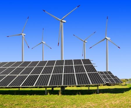wind turbines: solar energy panels and wind turbines  Stock Photo