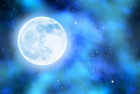 gaseous: Night sky with stars,nebula and moon Stock Photo