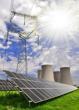 radiacion solar: Paneles de energ?a solar y la planta de energ?a nuclear