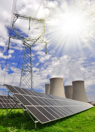 Solar energy panels and nuclear power plant  photo