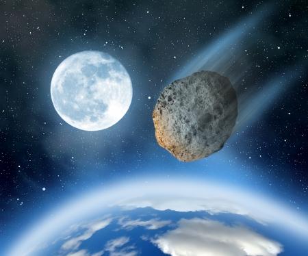 地球に落ちる小惑星 写真素材