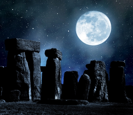 monument historical monument: Historical monument Stonehenge in night,England, UK