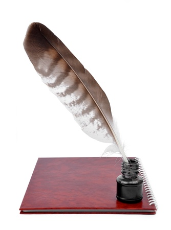 Feather with ink bottle and workbook photo