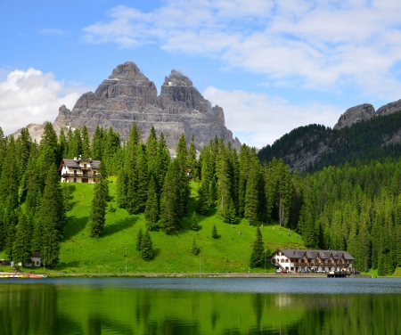 lake misurina: Lake Misurina and Tre Cime di Lavaredo - Dolomites, Italy  Stock Photo