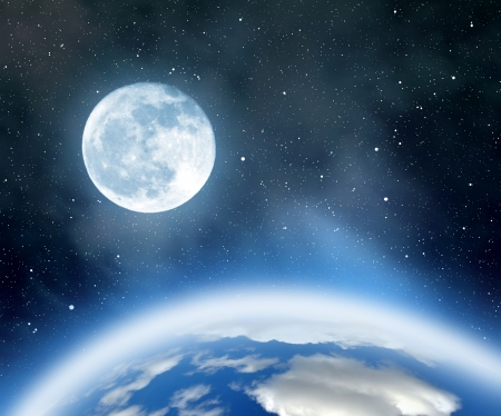 cold fusion: Night sky with stars,nebula,earth and moon