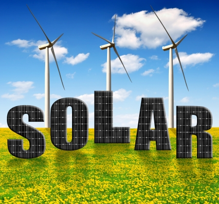 silicium: solar energy panels and wind turbines on dandelion field  Stock Photo