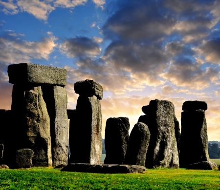 Historical monument Stonehenge in the sunset,England, UK  photo