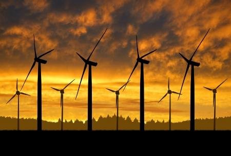 windturbine: Wind turbines in the sunset
