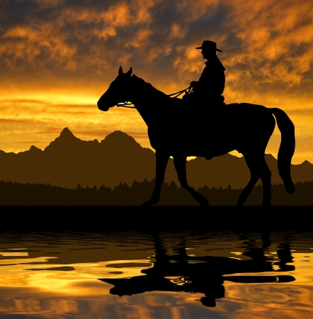 ranches: Silhouette cowboy with horse in the sunset