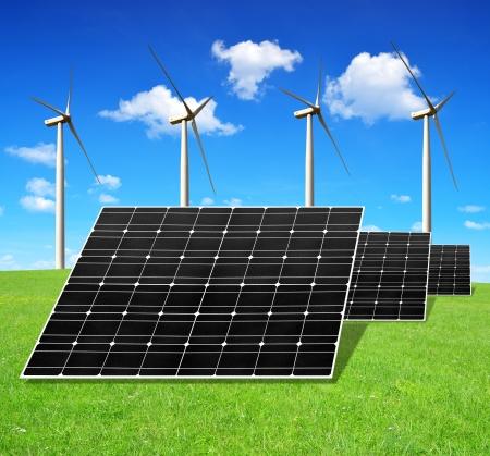 silicium: solar energy panels and wind turbines  Stock Photo