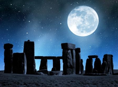 old moon: Historical monument Stonehenge in night,England, UK