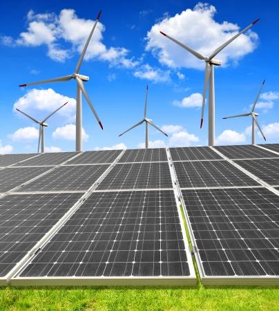 wind energy: solar energy panels and wind turbines  Stock Photo