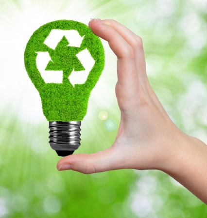 renewable resources: eco energy bulb in hand on green background