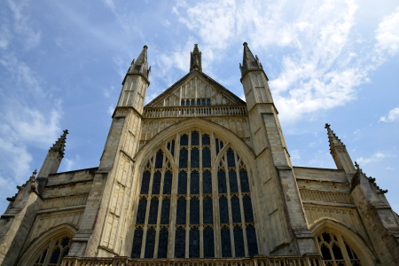 u k: Winchester Cathedral at Winchester in Hampshire,England,U K  Stock Photo