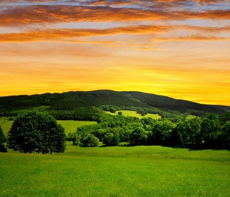 bohemia: sunset over spring landscape  Stock Photo