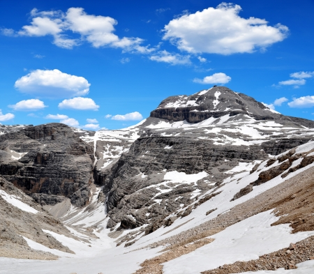 clearness: Dolomites moutnain peaks  Piz Boe, Sella, Italy  Stock Photo