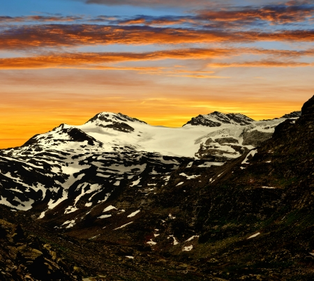 wallis: View on the Monte Moro pass in Swiss Alps Stock Photo