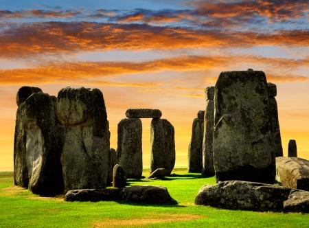 stonehenge: Historical monument Stonehenge in the sunset, England, UK