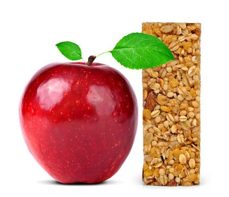 granola bar: Muesli Bars with apple isolated on white background Stock Photo