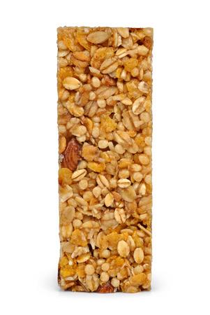barra de cereal: Barra de cereal aislado en blanco Foto de archivo