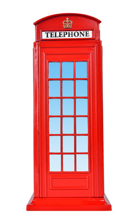 British telephone box, isolated on a white  photo