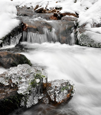 wintrily: winter creek in the national park Sumava - Czech Republic