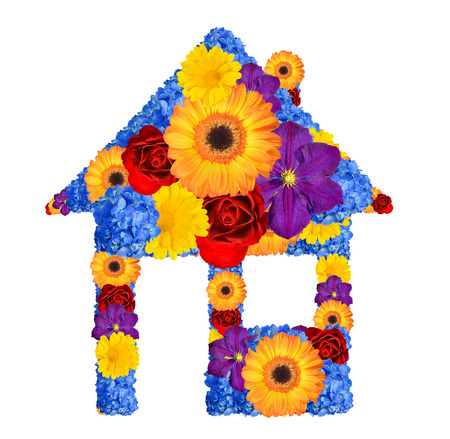 House symbol from flowers isolated on white  photo