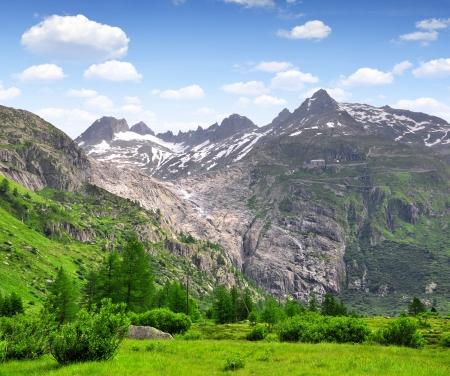 rhone: View of the Furkapass and Rhone glacier, Oberwald, Swiss  Stock Photo