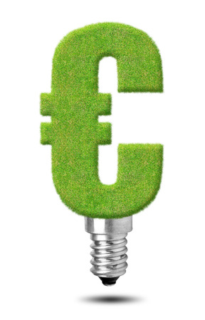 Euro sign bulb isolated on white  photo