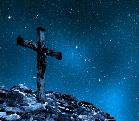 inri: Jesus Christ on The Cross  Stock Photo