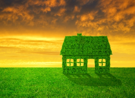 Green  house symbol on meadow  Stock Photo