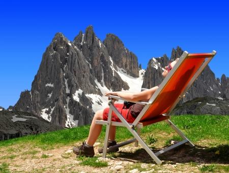 dolomite: Girl in the Dolomite Alps On the background Cadini di Misurina