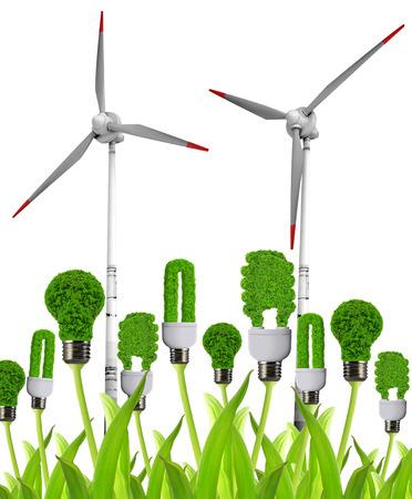 welfare plant: Eco energy bulbs with wind turbines  Green energy concept   Stock Photo
