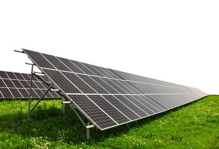 silicium: Solar energy panels on white background
