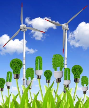 technological: eco energy bulb with wind turbines - Green energy concepts