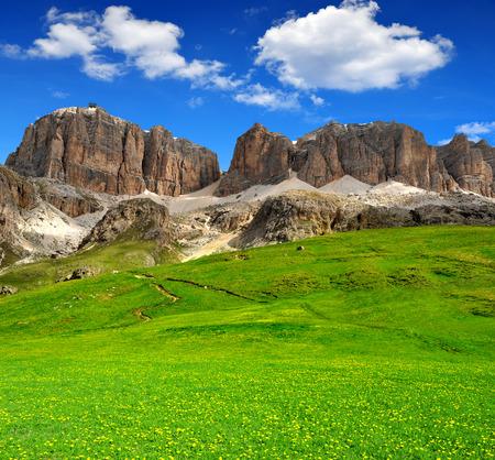 fassa: Dolomite peaks,Sella,Val di Fassa, Italy Alps Stock Photo