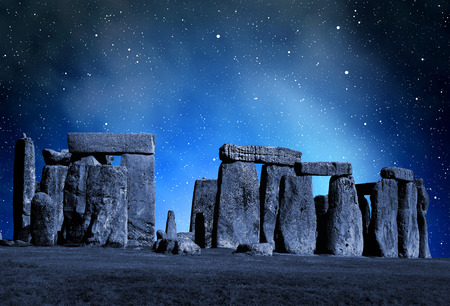 celts: Historical monument Stonehenge in night,England, UK