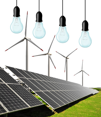 silicium: Solar energy panels with wind turbines and bulbs on white background Stock Photo