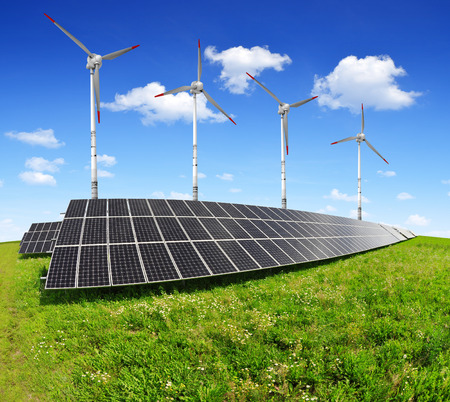 solar energy panels and wind turbines photo