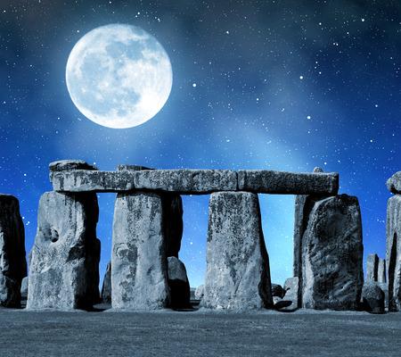 stonehenge: Historical monument Stonehenge in night,England, UK Stock Photo