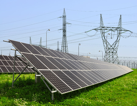 outdoor electricity: Solar energy panels with power line