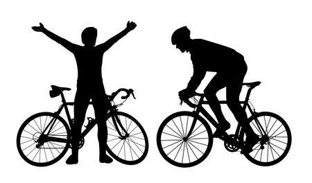 cyclist silhouette: Cyclist silhouettes